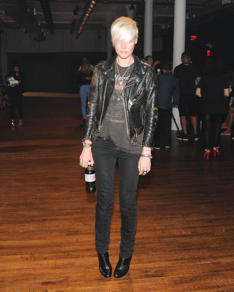 At the Yigal Azrouël show, Kate Lanphear looked edgy in a biker jacket and skinny jeans.