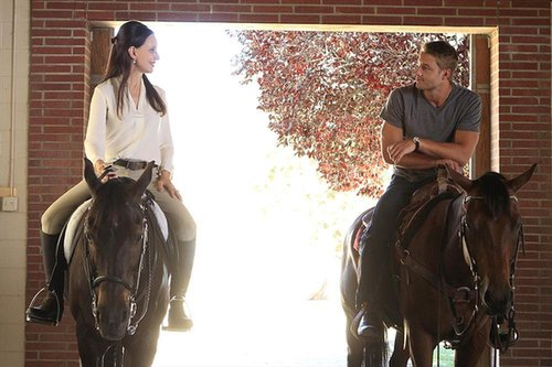 Revenge Madeleine Stowe and Justin Hartley on the season premiere of Revenge.