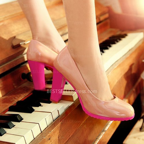 Candy Colors Patent Leather Round Toe Nude High-Heeled Shoes