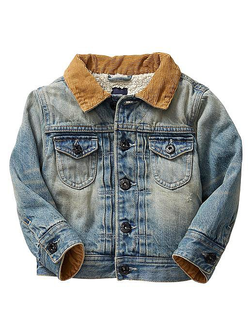 Throwback to a seriously '70s look with BabyGap's adorable Sherpa-lined denim jacket ($50) for babies ages 12 months through 5 years.