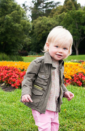 Forgo ruffles and frills with Peek's no-nonsense McCabe Military Jacket ($48) for baby girls ages 3-24 months.