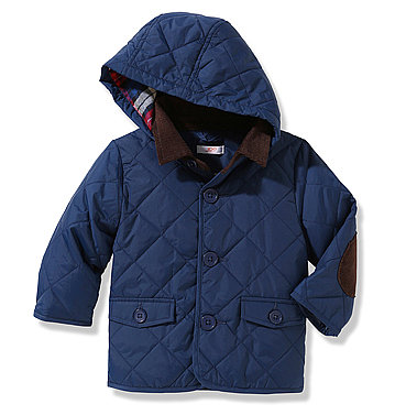 Joe Fresh's Quilted Satin Jacket ($24) features fun details like a brown corduroy collar and elbow patches.
