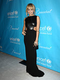 For the UNICEF Ball in December 2011, Nicole struck a pose in a sexy cutout Osman gown featuring a leather bodice and miniature train.