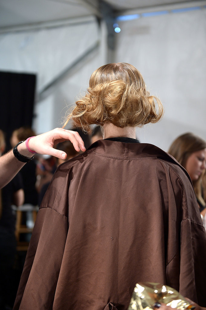 Romantic hair at Lela Rose.