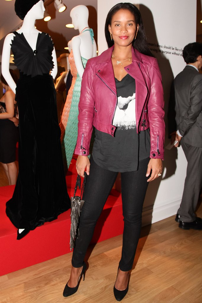 Joy Bryant supported the Italian Trade Commission in a red motorcycle jacket.