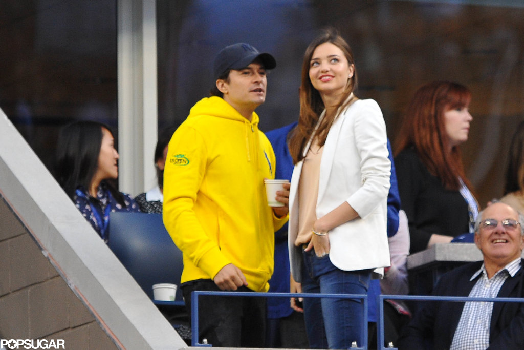 Miranda Kerr and Orlando Bloom watched the US Open from the Time  Warner Cable suite.