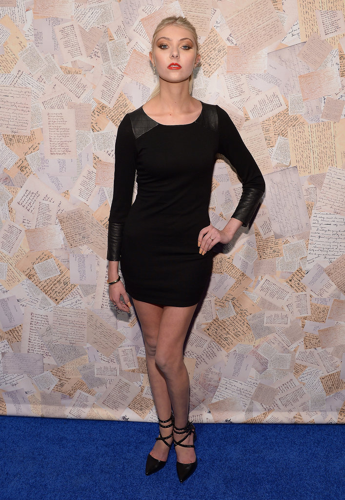 Taylor Momsen put her svelte figure on display in a little black Alice + Olivia dress and strappy pumps at the designer's presentation.