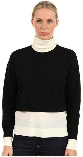 Tibi - Layered Merino Wool Sweater Colorblocked Cropped Short Turtle Neck Pullover (Black/Off White) - Apparel