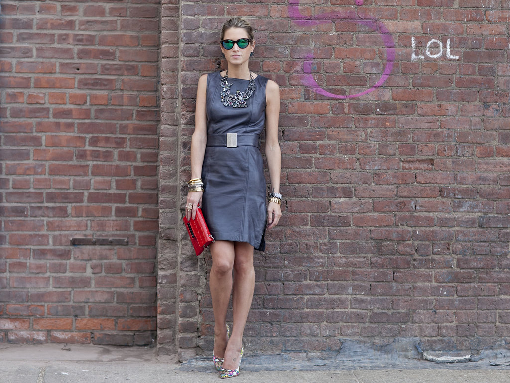 A little leather dress with major shades.