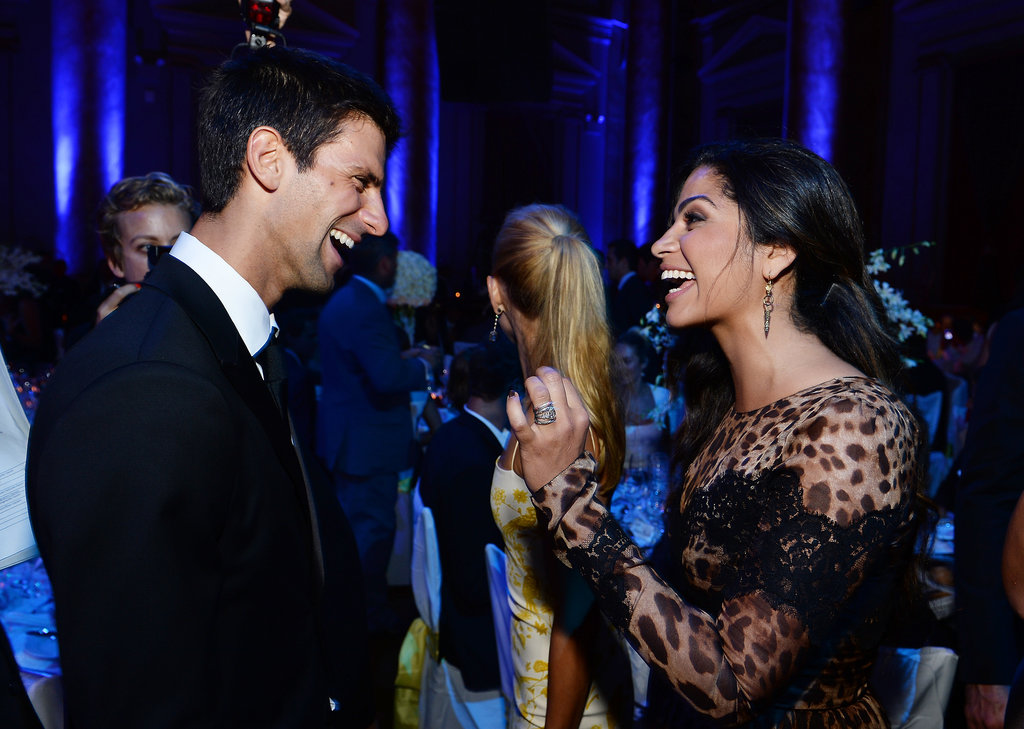 Novak Djokovic chatted with Camila Alves at his foundation's party in NYC.