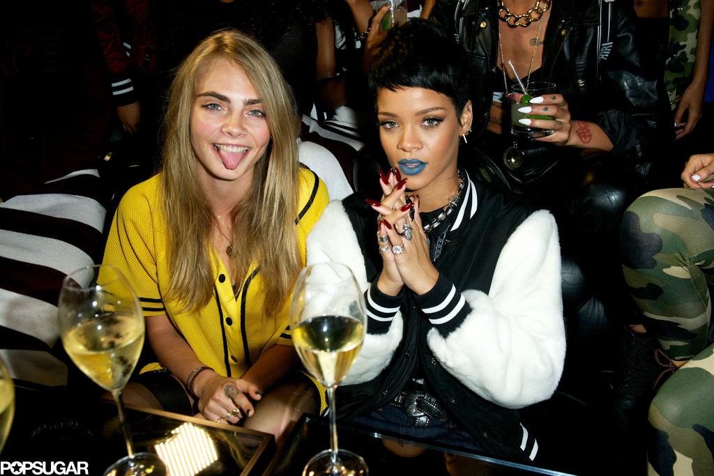 Cara Delevingne drank wine with Rihanna.