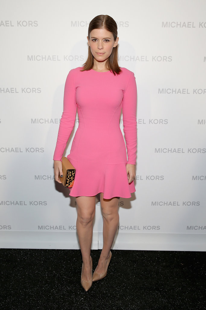 Kate Mara also stuck to the girlie theme at Michael Kors in a little pink fit-and-flare dress.