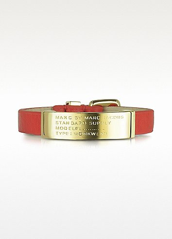 Marc by Marc Jacobs Standard Supply ID Brass and Leather Bracelet