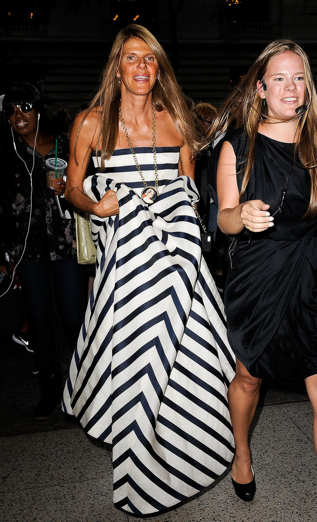 Anna Dello Russo made her way into Oscar de la Renta's show in a dramatic striped design.