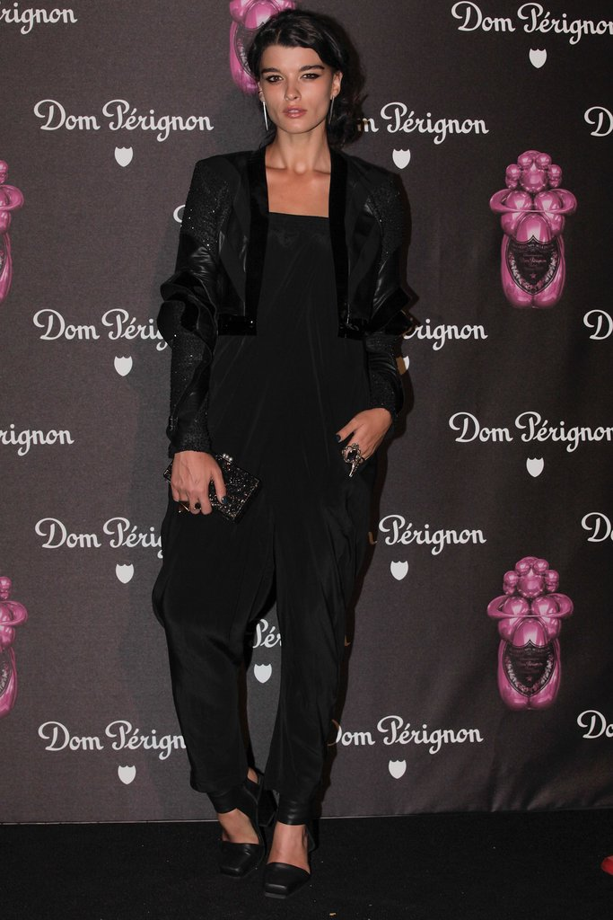Crystal Renn was at her chicest in head-to-toe black at the Dom Pérignon by Jeff Koons launch.