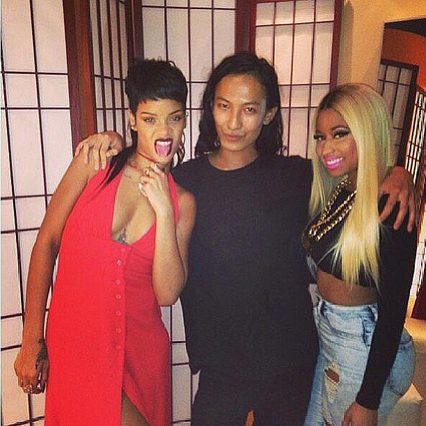 Designer Alexander Wang was flanked by Rihanna and Nicki Minaj during NYFW. Source: Instagram user badgalriri