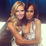 Heidi Klum and Kerry Washington embraced while shooting the Project Runway finale. Source: Instagram user heidiklum