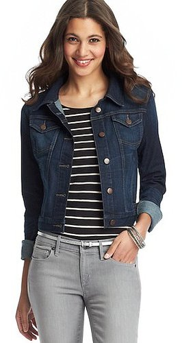Petite Cropped Denim Jacket in League Blue Wash