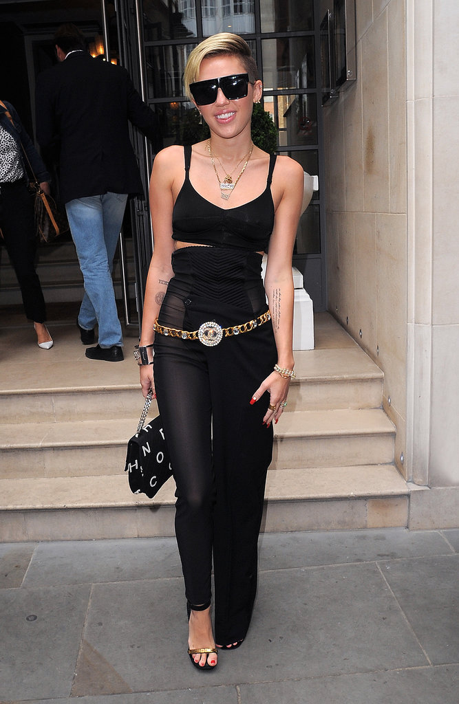 Miley Cyrus' sheer pants hybrid drew attention when she was in London on Sept. 11.