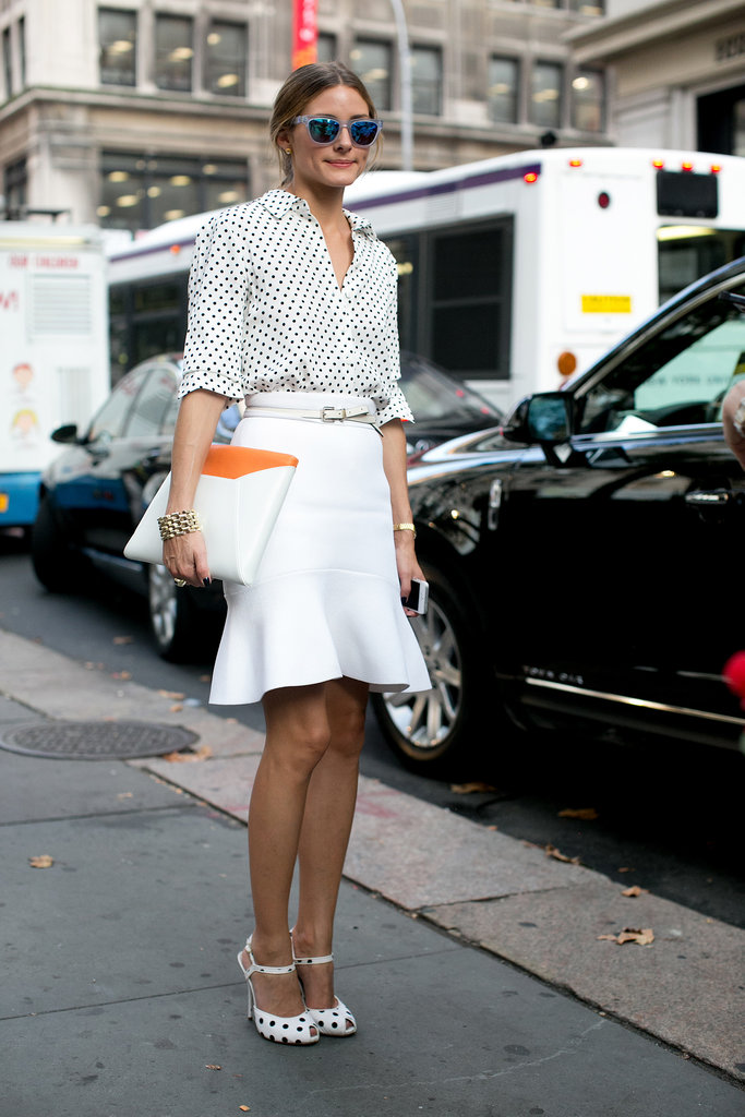 Olivia Palermo looked lovely in polka dots, a white flared skirt, and Westward Leaning sunglasses.