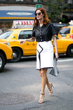Taylor Tomasi Hill kept it simple in a pencil skirt and cropped button-down.