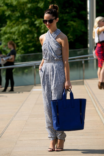 A sophisticated jumpsuit was a perfect way to beat the New York heat.
