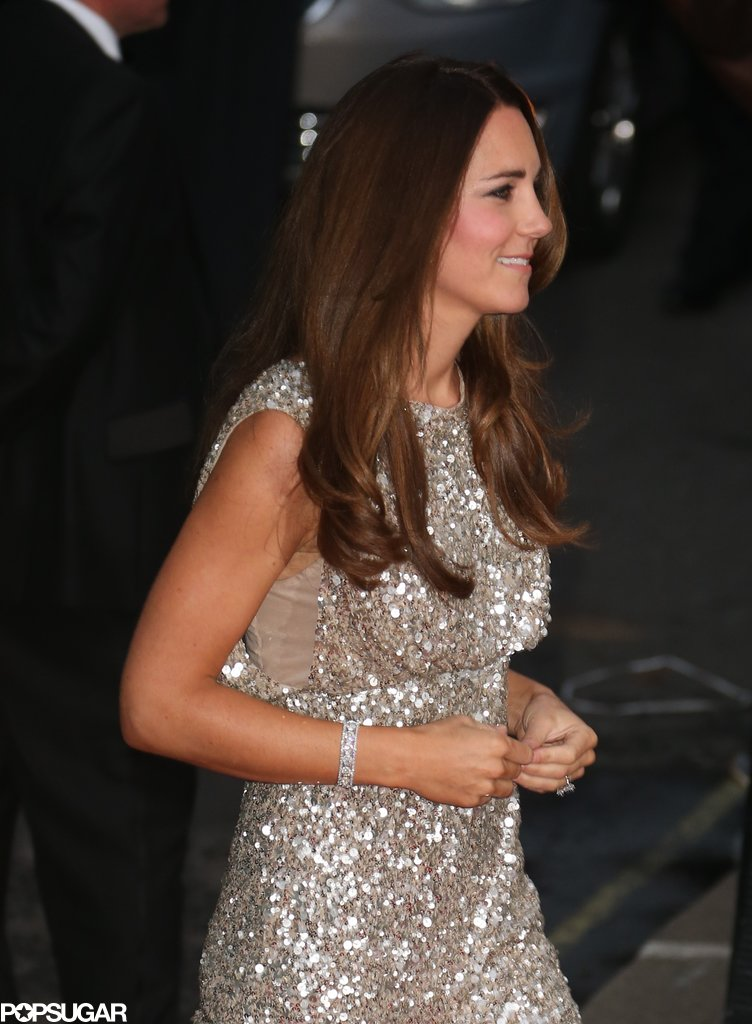 Kate Middleton wore a silver frock.