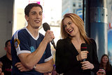 Jason Biggs and Alicia Silverstone cracked up at the MTV Studios during their 2002 TRL appearance.