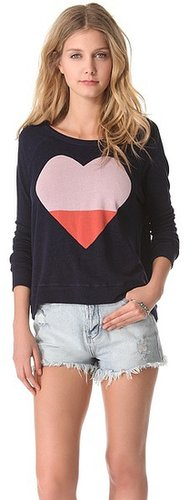 Sundry Heart Cropped Pullover