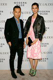 Phillip Lim and a leather motorcycle jacket-clad Tao Okamoto made for a cool pair while hitting the carpet for Estée Lauder's Modern Muse bash.