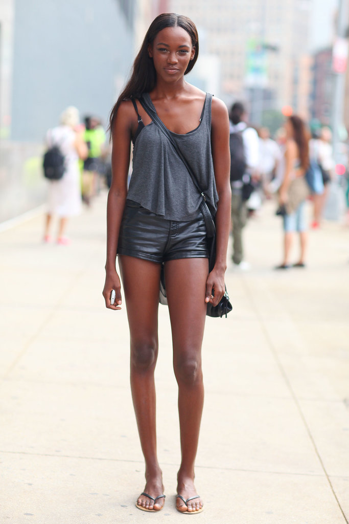 Leather shorts made this Summer tank top and sandal moment a little more unexpected.