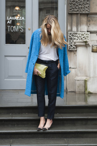 We love the shoes, too — but we're more infatuated with that brilliant blue coat.