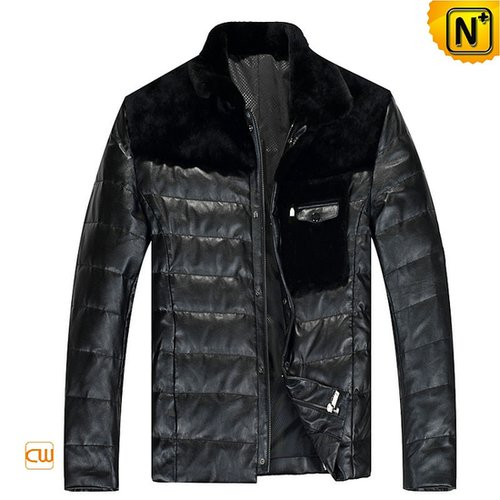 Down Filled Leather Jacket Black for Men CW848109