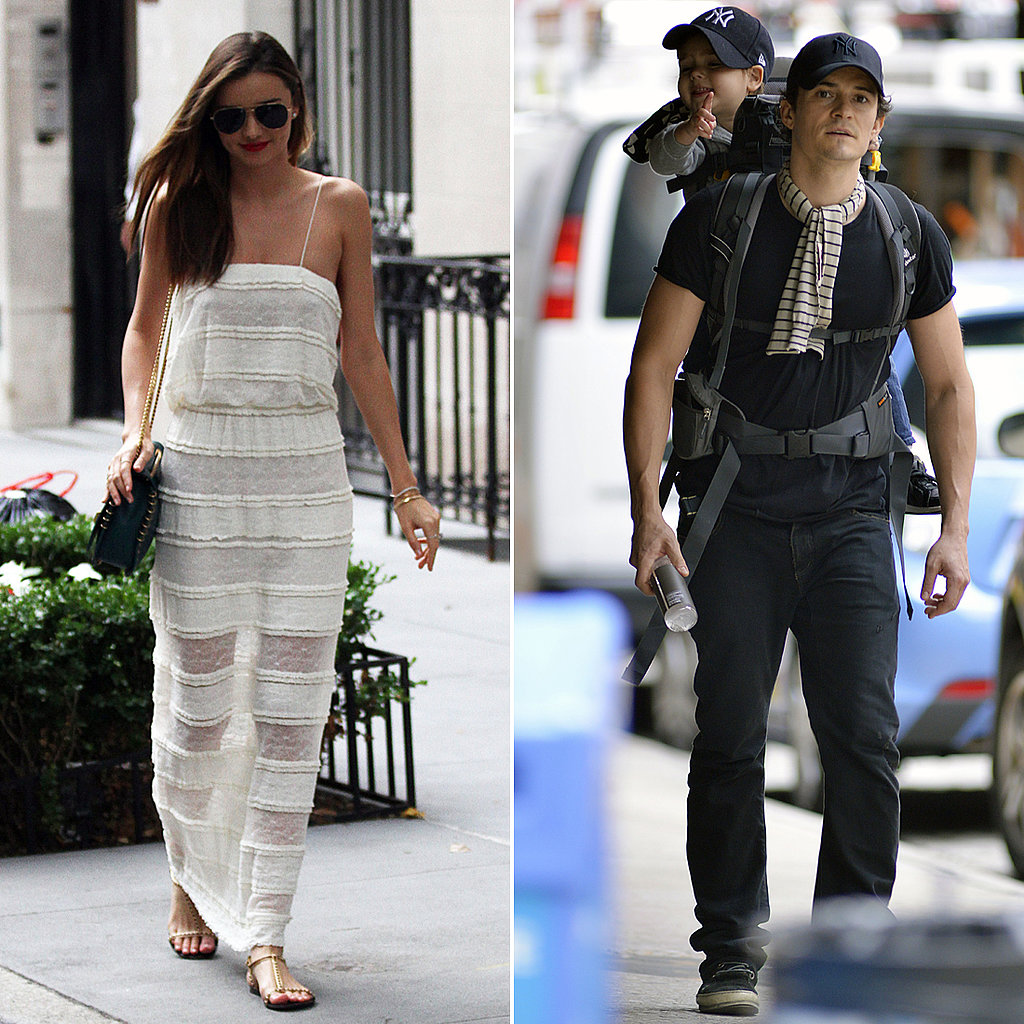 Miranda Kerr Goes Sheer While Her Boys Wear Matching Baseball Hats