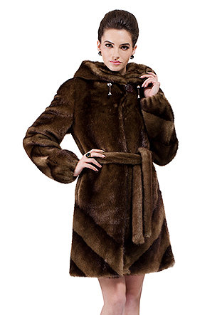 Jacqueline/faux brown diagonal stripes mink fur with hat/middle fur coat - New Products
