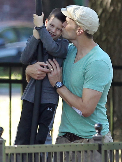 Tom Brady kissed his son Jack at the playground.