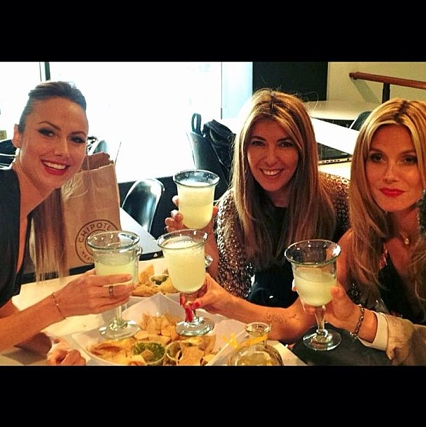 Cheers! Stacy Keibler wrapped her Project Runway stint with Nina Garcia and Heidi Klum. Source: Instagram user stacykeibler