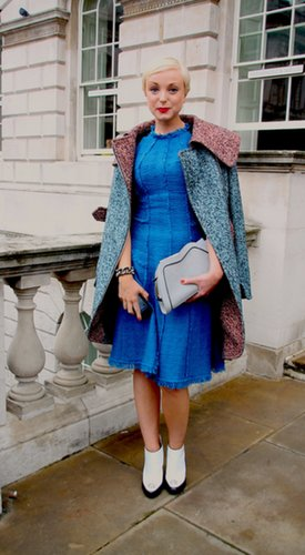 There's nothing we don't love about her little tweed dress. Source: Hannah Freeman