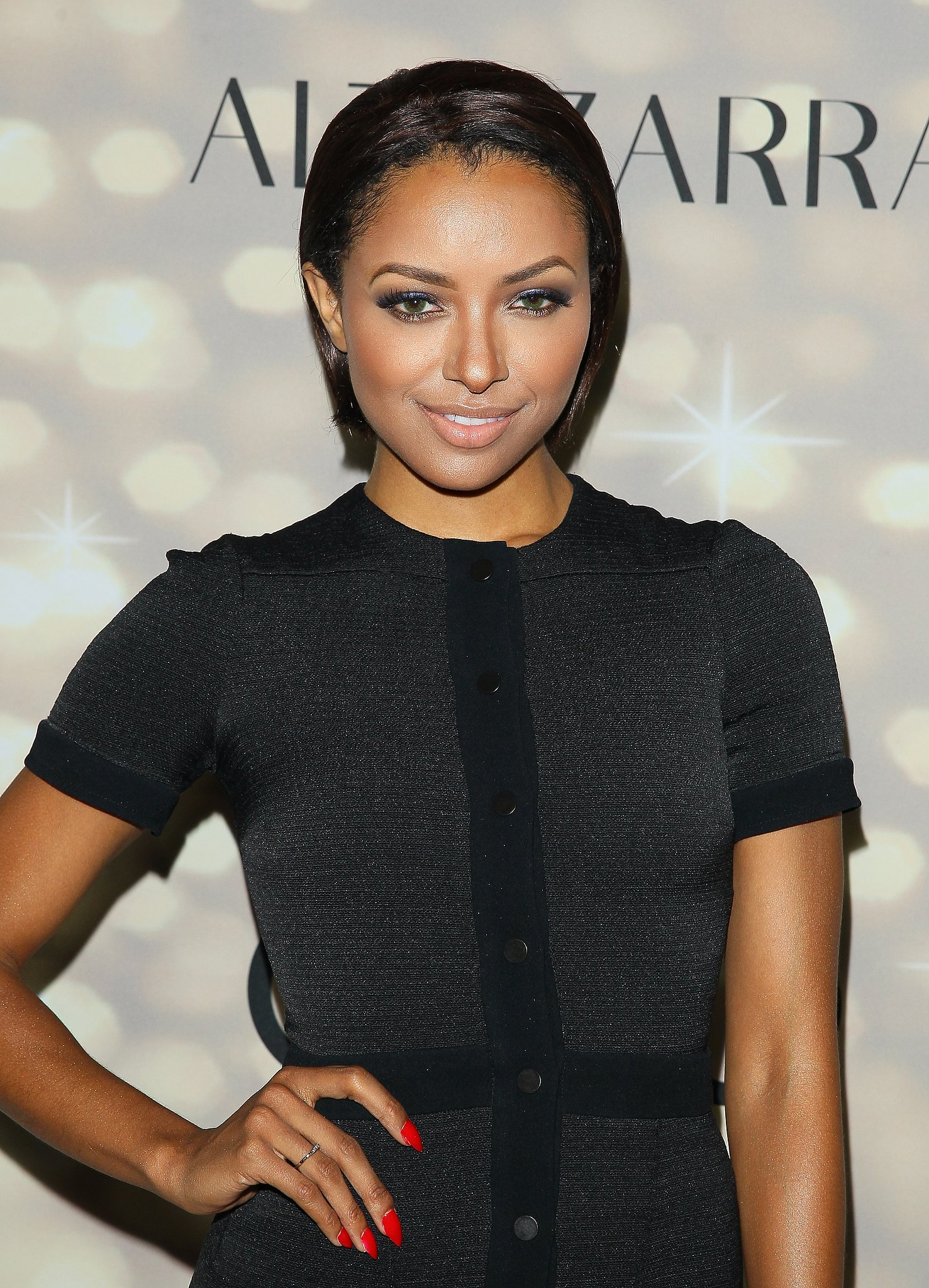 Kat Graham wowed the crowd with metallic blue eye shadow and red nail polish at the Audi and Altuzarra Kick-Off Party.