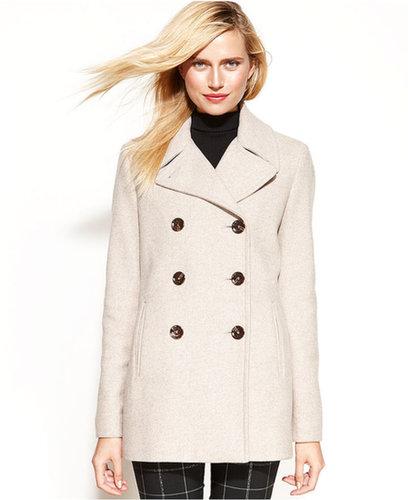 Calvin Klein Coat, Wool-Cashmere-Blend Pea Coat