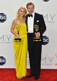 Homeland costars Claire Danes and Damian Lewis posed with their awards after the 2012 show.
