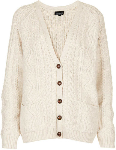 Knitted Angora Cable Cardi