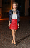 Georgia May Jagger wore a red skirt to the London Fashion Week event.