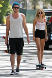 Liam Hemsworth and Miley Cyrus skateboarded their way through LA in July 2012.