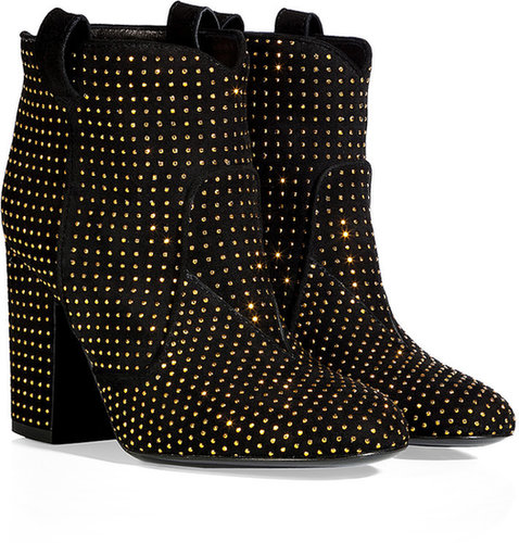 Laurence Dacade Black Suede Ankle Boots with Allover Gold-Toned Studding