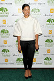 Hannah Bronfman walked the green carpet for Origins' Charity: Water benefit in a crisp ensemble.