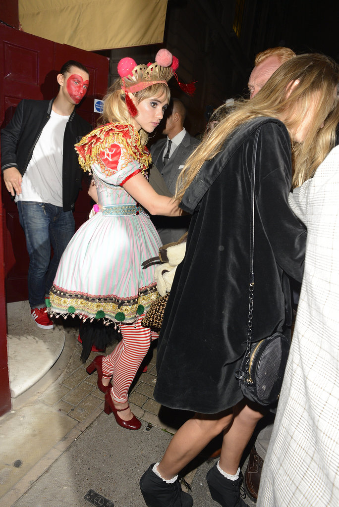 Suki Waterhouse sported a full costume for the London bash.