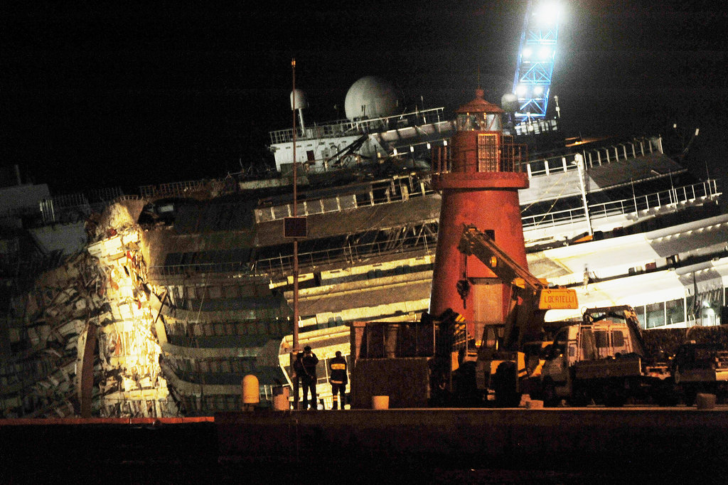 The Costa Concordia cruise ship was successfully moved upright after a year and a half in the water.