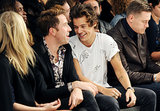 Harry Styles had a laugh front row at the Fashion East show.