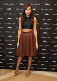 Ashley Madekwe got in on two trends — the crop top and leather — at the Longchamp store opening in London.